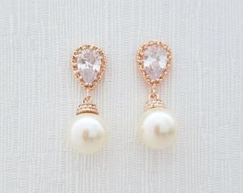 Rose Gold Pearl Bridal Earrings Swarovski Pearl Earrings Ivory Pearl Rose Gold Wedding Earrings, Ava