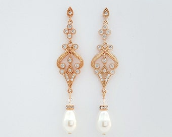 Rose Gold Vintage Style Wedding Earrings Rose Gold Pearl Wedding Earrings Bridal Jewelry Cubic Zirconia Long Pearl Earrings, Elizabeth