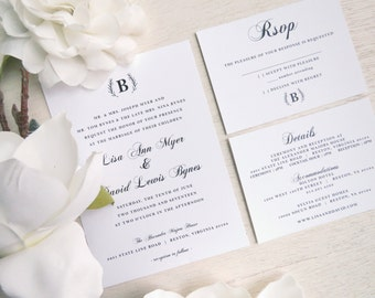 Wedding Invitation Suite - Style S08 - Elegant Wedding COLLECTION | Invitation | RSVP Card | Details Card Printable