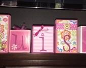 Custom Order for Melissa - LUISA's pink/floral BLOCKS