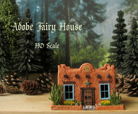 Santa Fe Adobe Fairy House Miniature Handcrafted Ho