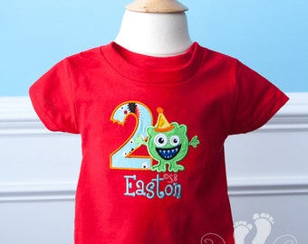 Little Monster Birthday Shirt in RED - Personalized - choose your Font Fabric AND Colors