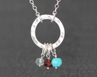 Birthstone Cluster Necklace, Birthstone Karma Necklace, Mothers Birthstone, Mothers Jewelry, For Mom