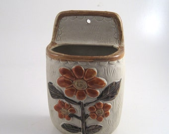 Pottery wall pocket - rustic floral wall vase - wall hanging vase - folk wall pocket - pottery catchall - rustic decor - farmhouse decor