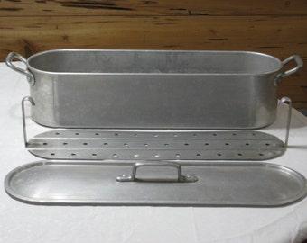 Vintage Tourous France Large Aluminum 3 Pc. Fish Poacher