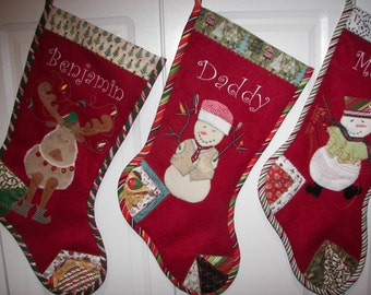 Christmas Stocking Personalized, Monogrammed, Custom Christmas Stocking, Personal Designs, OOAK