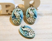 2 handmade clay pottery ceramic charms for earrings + cab for ring - romantic peacok - poppy in the sky