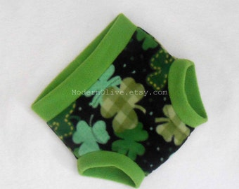 Extra Large Shamrock Fleece Cloth Pullup/Fitted Diaper or Training Underpants Cover/Trainer Green Black, Ready to Ship for St. Patrick's Day