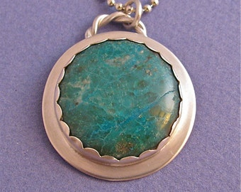 Chrysocolla bezel set sterling silver pendant necklace