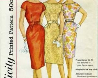 Simplicity 3461 1960s Retro Wiggle-dress with Kimono Sleeves