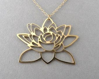 golden Lotus flower necklace, lotus pendant, lotus jewelry, lotus necklace
