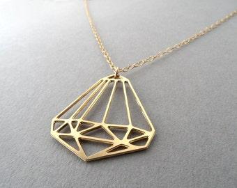 mini geometric diamond, diamond charm, diamond jewelry, diamond necklace, gold diamond, geometric jewelry, geometric pendant, bling jewelry