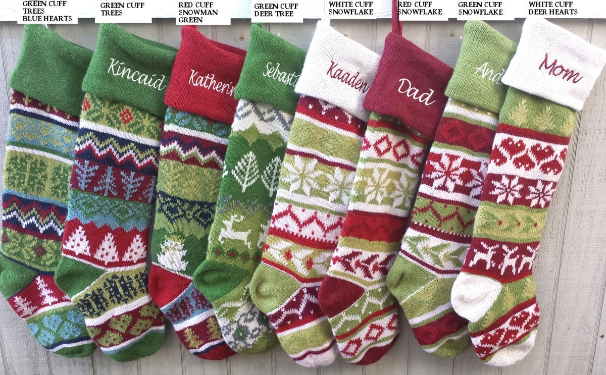 Hand Knit Christmas Stockings Personalized
