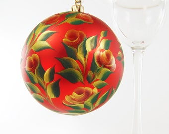 Hand-Painted Christmas Ornament - Red and Gold Roses on Large 4 Inch Red Ornament - Large Christmas Balls Tree Ornament Decoration Ball