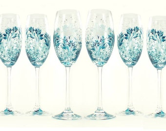 Bridesmaid Champagne Glasses - 6 Hand Painted Champagne Flutes - Teal and Silver Roses, Includes Personalizing - Custom Bachelorette Gift