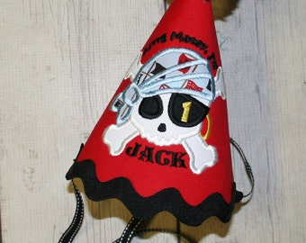 Pirate Birthday hat, Personalized Birthday Hat, Cake smash birthday hat