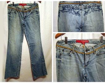 sz 27  Vintage Retro GUESS Jeans Classic Denim low rise  Blue Jeans Embroidered back Distressed Boho Hippie Denim