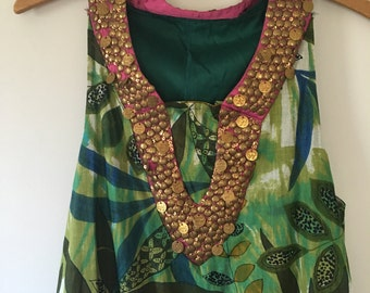 Handmade Jungle Print Cotton Dress • Cotton Tent  Dress • Boho Dress •  Free Size
