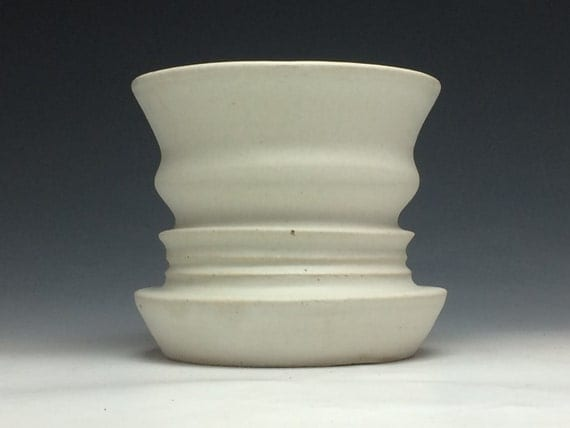 Op Art Vase Double Face Negative Space Profile Heads Ikebana