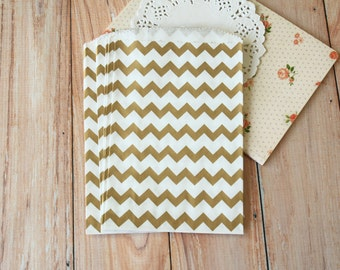GOLD Chevron Middy Bitty Bags medium paper bags