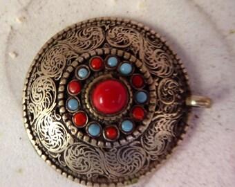 Destash Tribal silver turquoise coral semi precious stones pendant