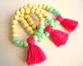 Tassel bracelet, chunky bracelet, Bohemian jewelry