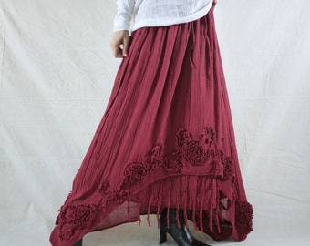 Plus Size Funky Boho Gpysy Hippie Floral Applique Blueish Dusty Red Double Layer Light Cotton skirt Size 8  To Size 22