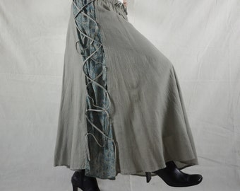Summer Is All Around...Full Circle Long Dusty Olive Taupe Light Cotton Skirt
