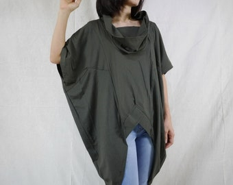 Chic Modern Oversize Short Front Long Back Charcoal Cotton Jersey Women Tunic Tops Size 2 To Size 14