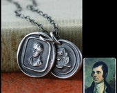 Robert Burns Rose Wax Seal Necklace, Scottish Necklace, Scotlands Poet, My Love Valentines Gift