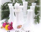 Collection of 9 Vintage 6 Inch Milk Glass Bud Vases Parties, Weddings, Receptions, DISCOUNT Available