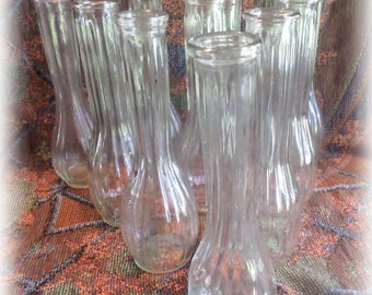 Collection of 10 Vintage Clear Glass Bud Vases Parties, Weddings, Receptions, DISCOUNT Available