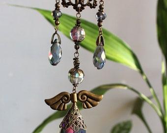 Sun catcher - light caster - Window ornament - House jewellery - Rainbow maker - Bronze fairy filigree Crystal Prism by White Raven Designs