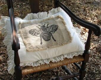 Pillow Slip Cover Pillow Sham  Burlap Muslin Pillow Sham PILLOW CASE w/ bee design