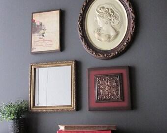 wall art - Boho Goddess -4 pc vintage  wall art with  mirror- feng shui - home decor