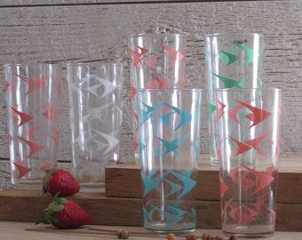 vintage - Atomic - drinking glasses - bar ware - set of 6