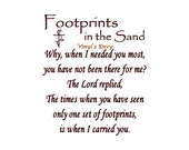 Footprints In The Sand - Vinyl Wall Decal - Wall Decals, Inspirational Decal, Christian Decal, Footprints Wall Decal