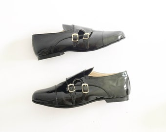 Faux Leather Vegan Monk Strap Flats Shoes (Handmade to order)