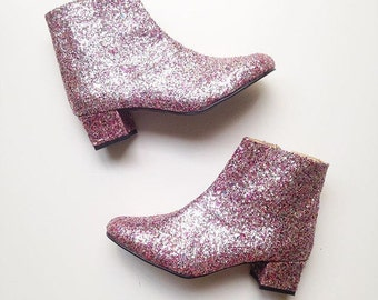 Edie Multicolor Glitter Heeled Ankle Boots (Handmade to Order)
