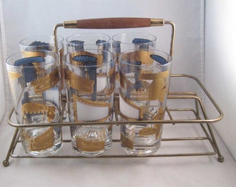 Mid Century Modern Drinking Glasses W/Caddy Copa~Sands~Night Clubs