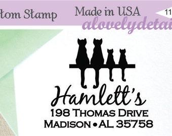 Personalized Self ink  Cat lover Family Custom Made Return Address Rubber Stamp great gift large family