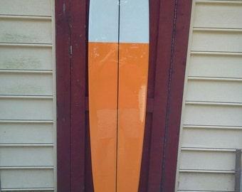 Six foot old school surfboard wall hanging. Surfboard decoration.