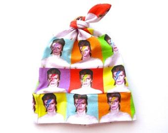 David Bowie Aladdin Sane Ziggy Stardust Rocker Baby Hat - Top Knot Hat - Baby Boy Gift - Baby Beanie - Rock N Roll Baby - 80s Icons - Bowie