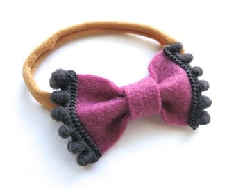 Felt Bow Headband - Pom Pom Triim Mini Bow - Baby Headband - Mauve and Grey - Headband or Hair Clip - Fall Style - Deep Berry Plum Gray