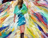 Original oil painting Rain Dance in Blue palette knife impressionism on canvas fine art by Karen Tarlton