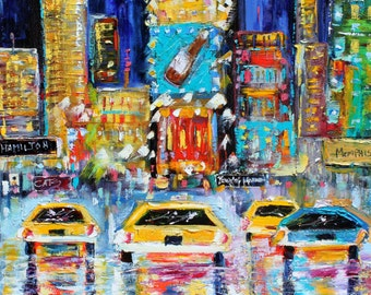 New York Times Square Night painting original oil abstract palette knife impressionism on canvas fine art by Karen Tarlton