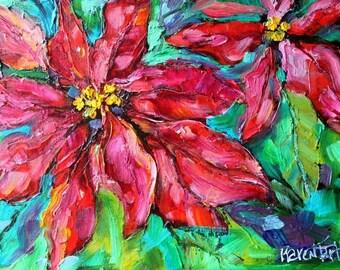 Christmas Poinsettias Fine Art Print from image of oil painting by Karen Tarlton - Holiday Poinsettia Flowers