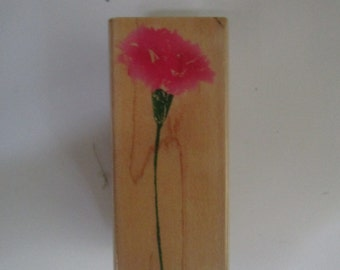 Wood mounted carnation stamp. Hero Arts 1 x 2.5 inches