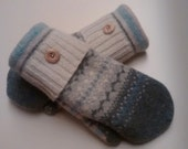 Sale Pastel Patterns Mittens made from recycled sweaters and lined with soft fleece. Ladies Medium.