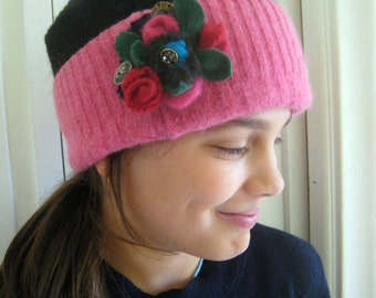 Handmade Child's Recycled Wool Hat and Flower Brooch ~child hat, pillbox hat, photo hat, girls hat, girl gift